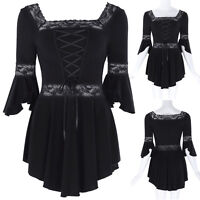 Vintage Gothic Victorian Steampunk Blouse Lace-Up Top Corset Style Shirts BLACK