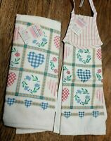 AUNTIE EM By HALLMARK NOS VTG 1986 (2) Kitchen Towels Hearts Floral Country NEW