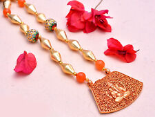 Indian Dholki Beads Necklace With Ganesha Pendent Indian Jewelry
