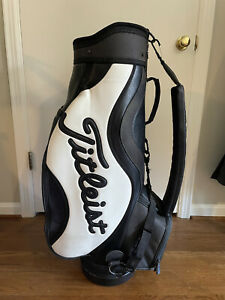 """TITLEIST 9"""" Staff Golf Bag Black & White Leather 6 Compartment w/Cover 👀🔥"""