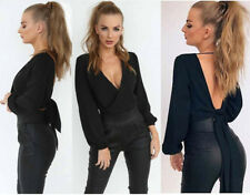 Womens Half Shoulder Cut out Strappy Crop Tops Long Sleeves Ribbed T-shirt Basic Black-24hr Fast Post UK Top Quality Xmas Gift Uk8