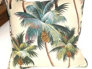 "20"" Hawaiian Tropical Cotton Barkcloth Fabric CORDED PILLOW ~Palm Trees~"