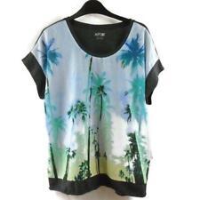 Apt. 9 Palm Tree Blouse Shirt Large Short Sleeve