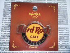 HARD ROCK CAFE AMSTERDAM - ROUND LOGO - CITY MAGNET on card ( no bottle opener )
