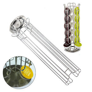 Revolving 32 Capsule Coffee Pod Holder Storage Tower Stand Rack For Dolce Gusto