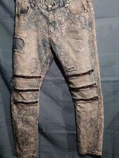 IMPERIOUS mens stonewash Zippers distressed denim 👖 jeans 36/32