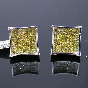 NYJEWEL JPM 14k Gold New Large Unisex 3ct Yellow Diamond Earrings