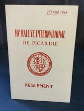 Rare Reglement Course 10e Rallye International De Picardie 1964 !!!!!