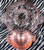 1 Anchor Hocking AHc50 Pink Diamond Optic 5 Piece Pressed Glass Berry Bowl Set