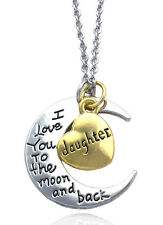 Daughter I Love You To The Moon and Back Heart Crescent Necklace Birthday Gift