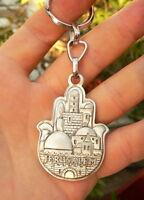 HAMSA Keychain Jerusalem Key Ring Kabbalah Amulet, Hebrew Bible Prayer Blessing