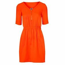 *Stunning* VERO MODA Carla Neon Coral Dress Gold Zip Front & Buttons Large (14)