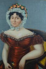 Tableau ancien Portrait empire Jeune Femme Coiffe fleurs Costume  Robe hst 19e