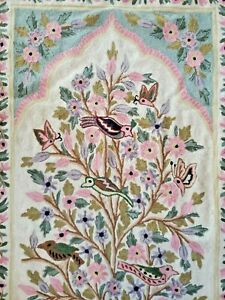 TREE OF LIFE Accent Rug Mat Chain Stitch Embroidery Wall Art Fringe Lined EUC