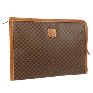 CELINE Macadam Document Case Clutch Hand Bag Brown PVC Leather M06* 03639