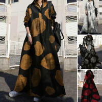 Women Long Sleeve Vintage Printed Casual Loose Kaftan Baggy Maxi Dress Plus Size