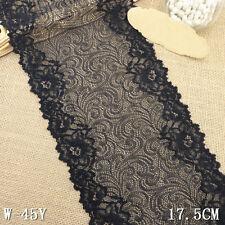 "1 Yard Vintage Floral Stretch Delicate Scallop Edge Lace Trim Black 6 1/2"" Wide"