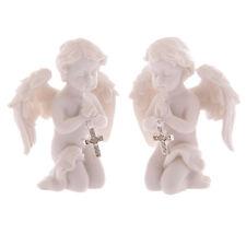 2 X Cherub Figurine Holding Silver Cross Praying Angel Figure Ornament Decor