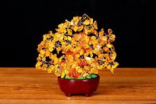 Chinese Feng Shui Bring Money Luck Natural Citrine Gem Stone Money Tree 7 Inch