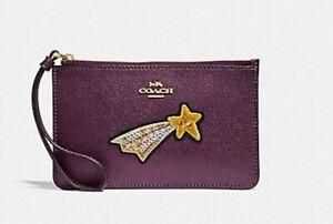 Coach Metallic Raspberry Wristlet Wallet Case Shooting Star Sequin NWT F38706