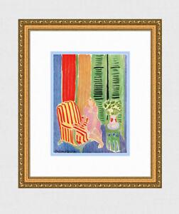 "1945 MATISSE SIGNED Antique Print ""Girl at the Window, Pink Dress"" Framed COA"