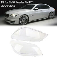 Pair Headlight Lens Replacement Cover Clear for BMW 7 Series F01 F02 2009-2015
