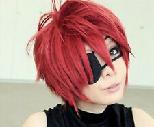 New D.Gray Man Lavi Anime Short Dark Red Cosplay Fashion Wig Free shipping Z00