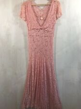 Vintage 30s/40s Pink Lace Flapper Wedding Deco Sheer Long Edwardian Dress Small