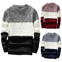 MEN'S AUTUMN JUMPER COLOR BLOCK PATCHWORK SLIM KNITTED PULLOVER SWEATER STRICT