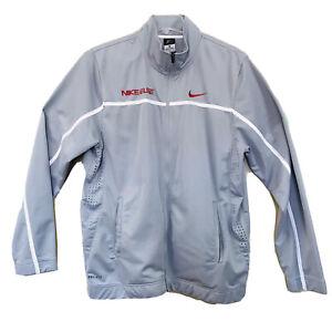 Nike Elite Men's Track Jacket XL Gray White Full Zip Athletic Dri Fit Casual