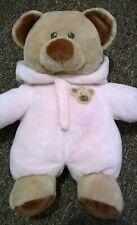 """TY Pluffies Bear Plush Baby Teddy 10"""" Pink Hooded Romper Suit Soft Toy 26cm"""