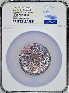 Rare Earth 2018 5oz Silver High Relief Patina golden diamond $8 Coin NGC MS70 FR