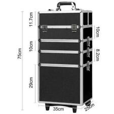 New 4in1 Aluminum Rolling Makeup Adjustable Dividers Cosmetic Train Case Trolley