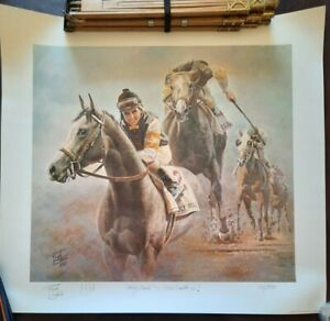 Fred Stone - Holy Bull Mike Smith Up! Signed Horse Print #266/950 COA