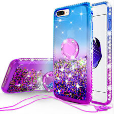 iPod Touch 5/6th Generation Cute Liquid Glitter Phone Case Girls Kickstand Blue