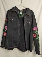 Bob Mackie Wearable Art Womens Embroidered Black Denim Jacket Top Roses Sz Large