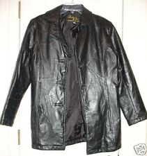Womens Leather & Soul fits Small black leather jacket coat  patchwork XC
