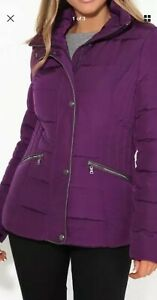 Ladies Quilted Coat Purple Zipped Front with Studs & Zipped pockets New Size 38