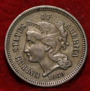 1869 Philadelphia Mint Nickel Three Cent Coin