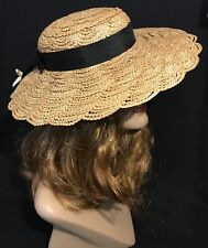 Vintage 1930s 1940s Straw Hat Grosgrain Ribbon With Grosgrain Bows