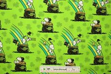 "22"" REMNANT Peanuts Snoopy Pot Of Gold St. Patrick's Day Cotton Fabric (E2) <"