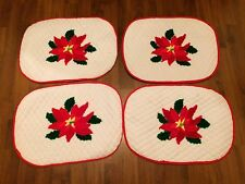 Lot Of 4 Vintage Christmas Placemats Quilted Poinsettia Hand Stitched