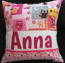 CUSHION PILLOW COVER GIRLS PINK OWLS NAMED PERSONALISED BIRTHDAY GIFT