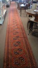 Vintage Afghan  00004000 Turkmen Rug Runner 47 Feet Long x 3 feet wide