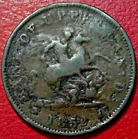 1852 CANADA LARGE PENNY ST GEORGE SLAYING DRAGON #238