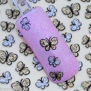Nail Art Autocollants Décalques Transferts doré et argent paillettes papillon