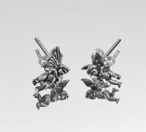 Beautiful Pair of Dainty Sterling Silver Cupid Earrings