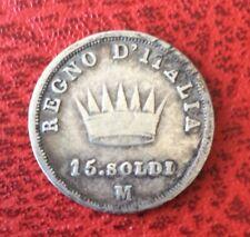 Italie - Napoléon Ier - Rare monnaie de 15 Soldi  1808 M
