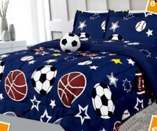 Sports Comforter Boys Kids 6 piece Bed In A Bag Flat Fitted Sheets Set Twin Size
