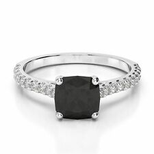 1.68 Cts Cushion cut Black diamond & Accent Ring, 14kt White Gold Ring ring #01
